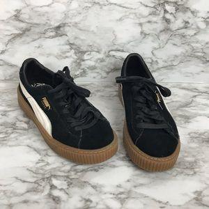 PUMA black suede platform sneakers size 8